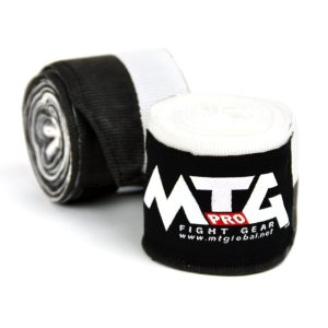MTG Pro Black/White Elasticated Hand Wraps