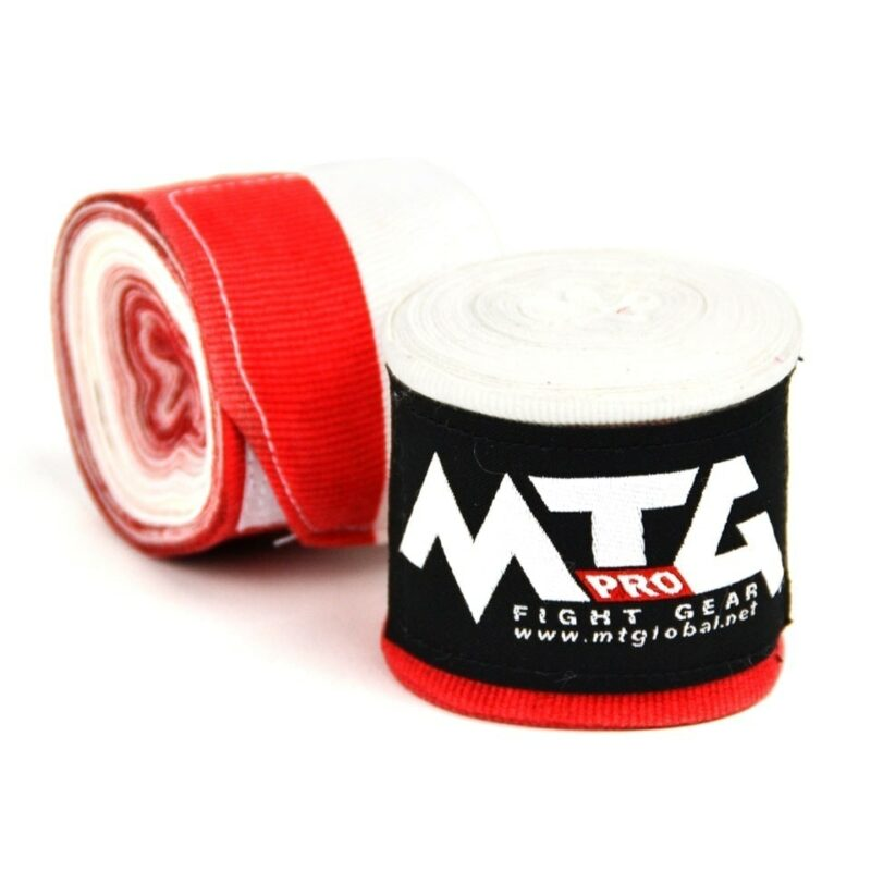 MTG Pro Red/White Elasticated Hand Wraps