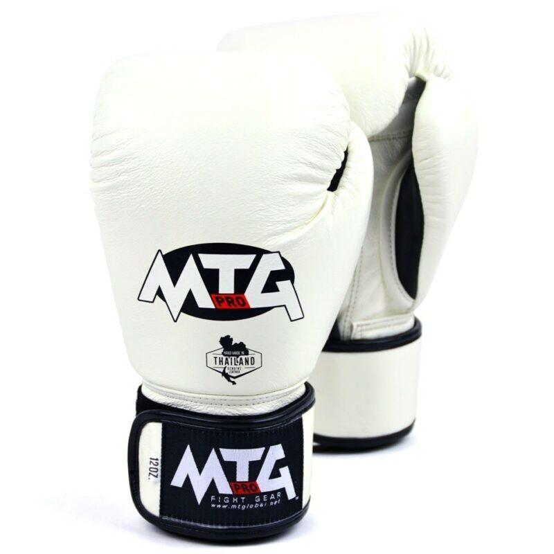 MTG Pro White Velcro Boxing Gloves
