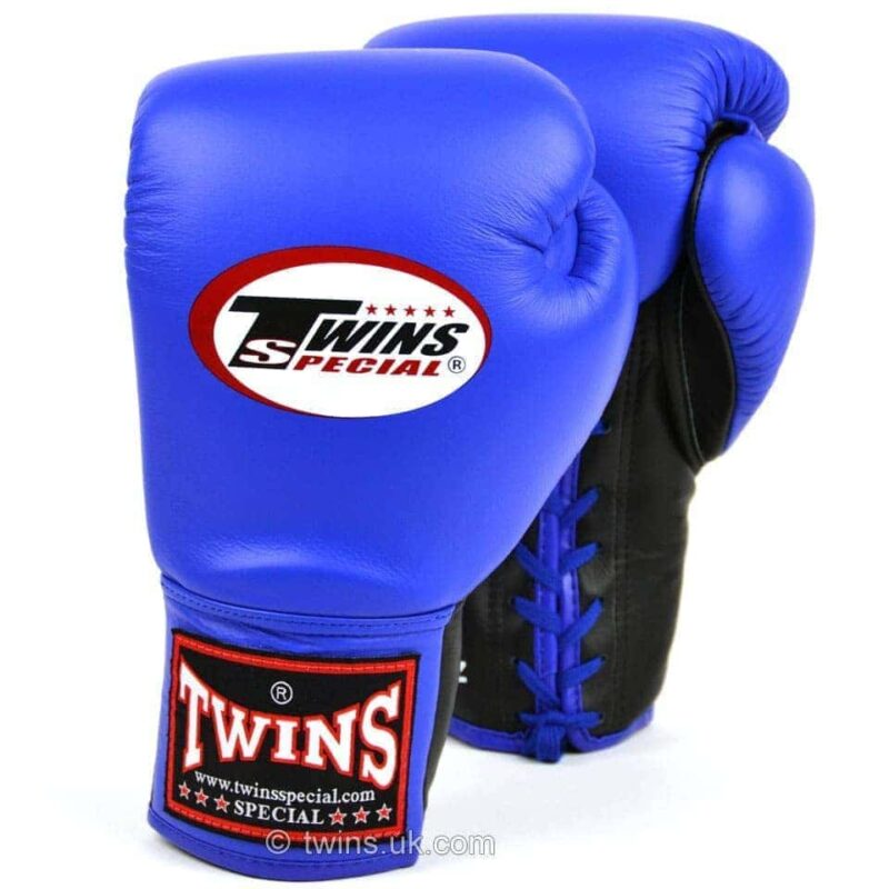 Twins Blue Lace-up Competition Gloves