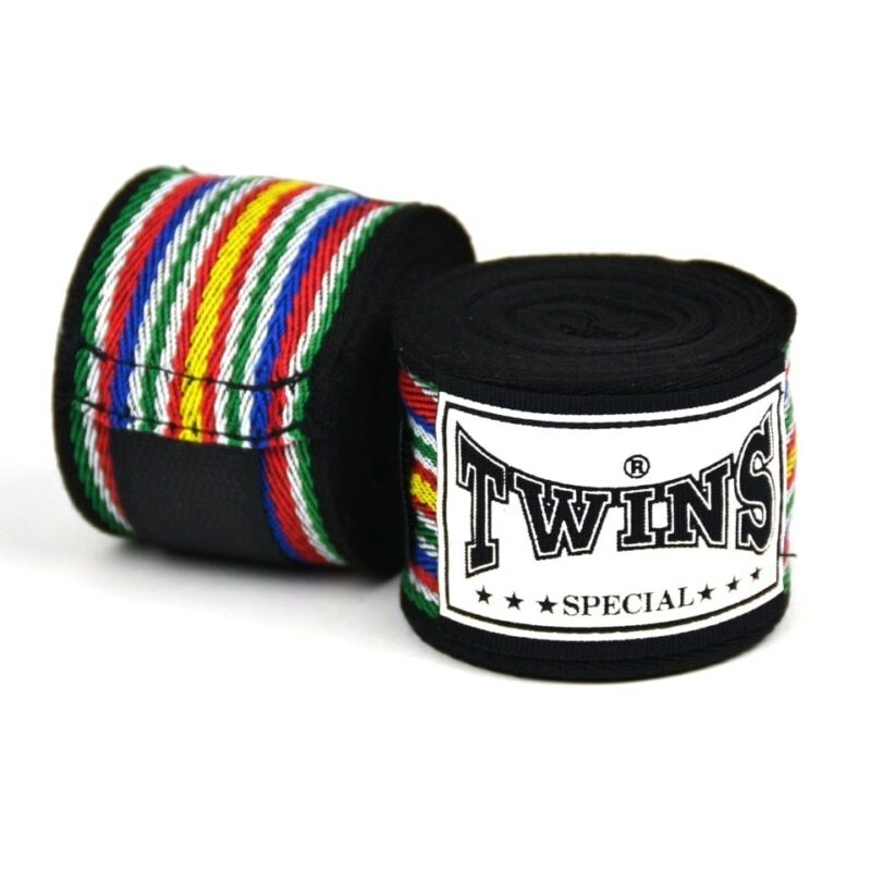 Twins 5m Black Premium Striped Hand wraps