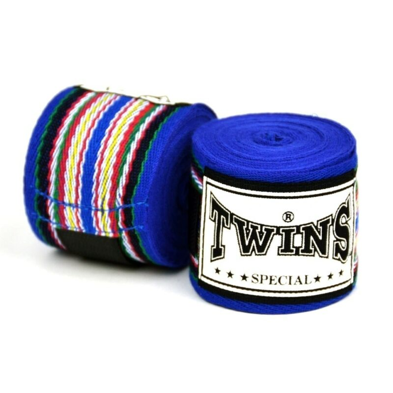 Twins 5m Blue Premium Striped Hand wraps