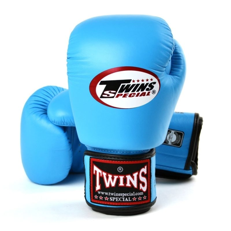 Twins Sky Blue Velcro Boxing Gloves