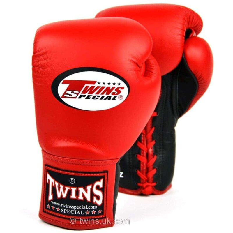 Twins Red Lace-up Competition Gloves