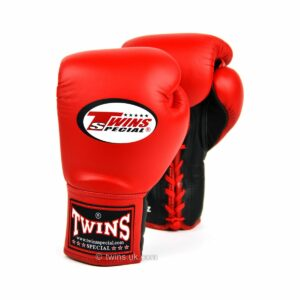 Twins red lace-up gloves