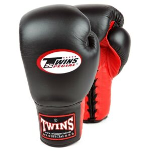 Twins red black lace up gloves