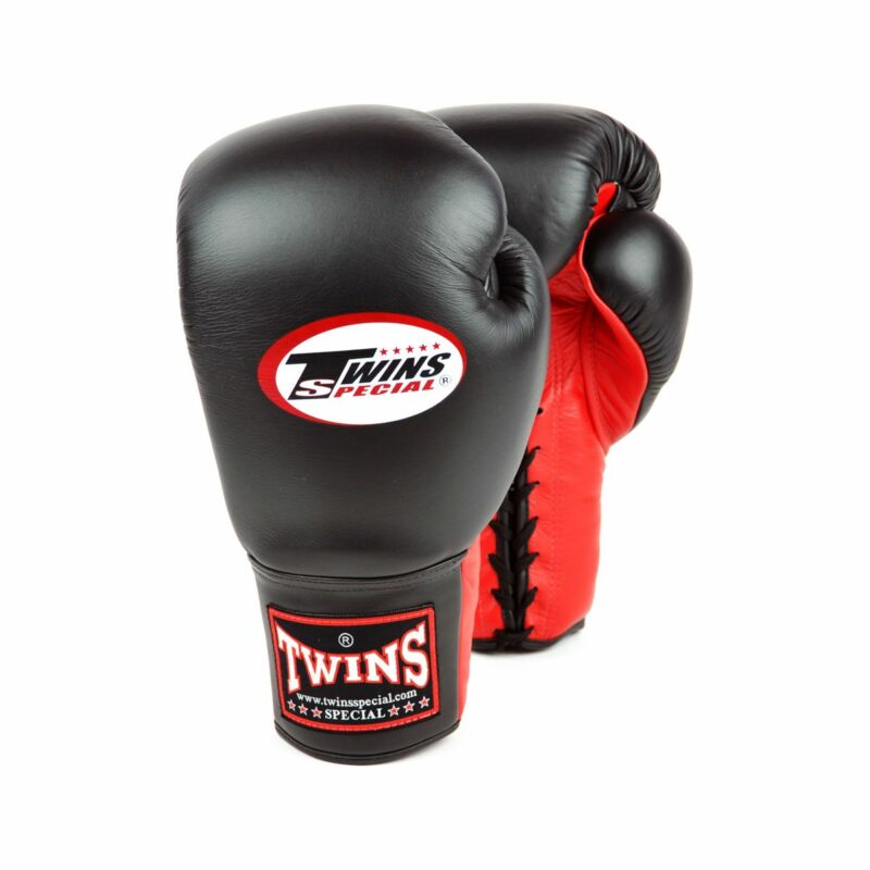 Twins black red lace-up sparring gloves