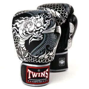 Twins Black & Silver Nagas Boxing Gloves
