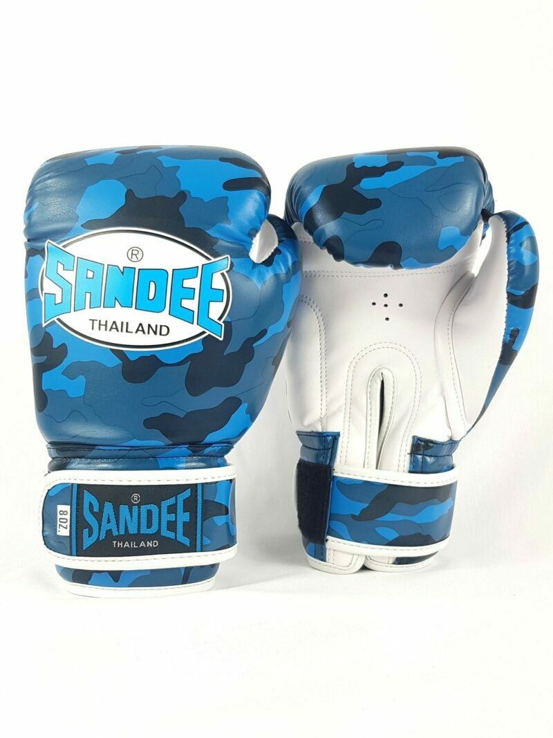 Sandee Kids Velcro Blue Camo Synthetic Leather Boxing Gloves