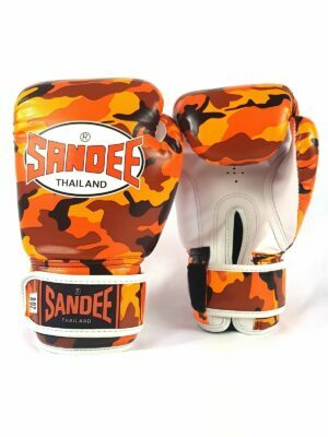 Sandee Kids Velcro Orange Camo Synthetic Leather Boxing Gloves