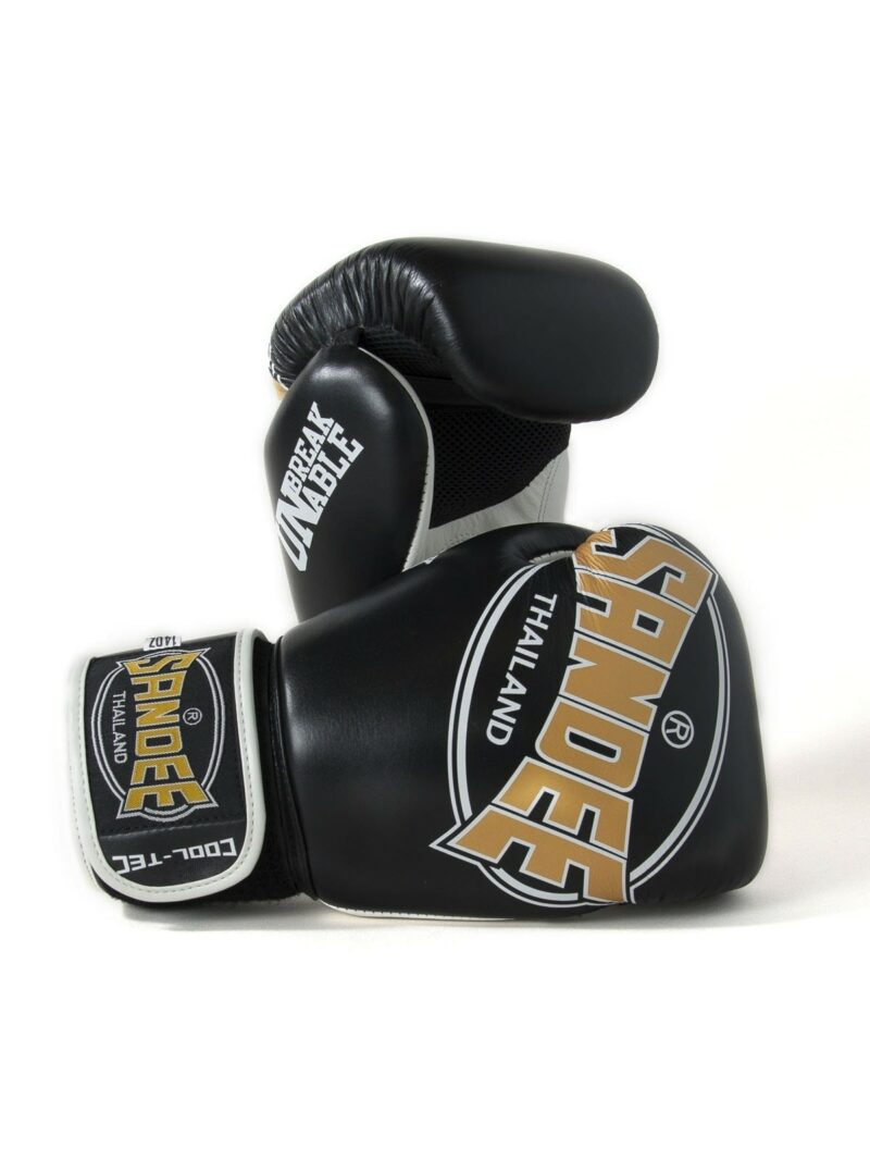 Sandee Cool-Tec Velcro Black, Gold & White Leather Boxing Gloves
