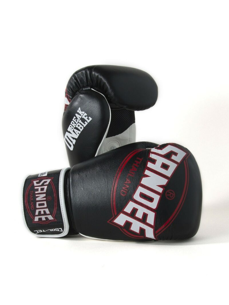 Sandee Cool-Tec Velcro Black, White & Red Leather Boxing Gloves