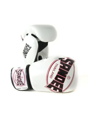 Sandee Cool-Tec Velcro White, Black & Red Leather Boxing Gloves