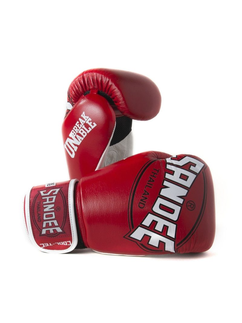 Sandee Cool-Tec Velcro Red, White & Black Leather Boxing Gloves