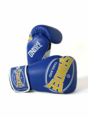Sandee Cool-Tec Velcro Blue, Yellow & White Leather Boxing Gloves