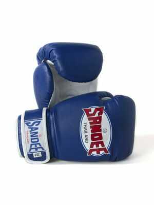 Sandee Kids Authentic Velcro Blue & White Leather Boxing Gloves