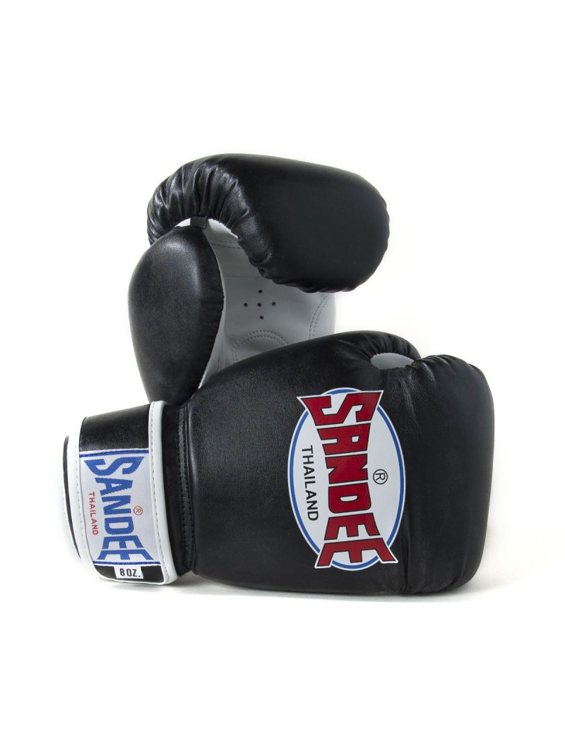 Sandee Kids Authentic Velcro Black & White Leather Boxing Gloves