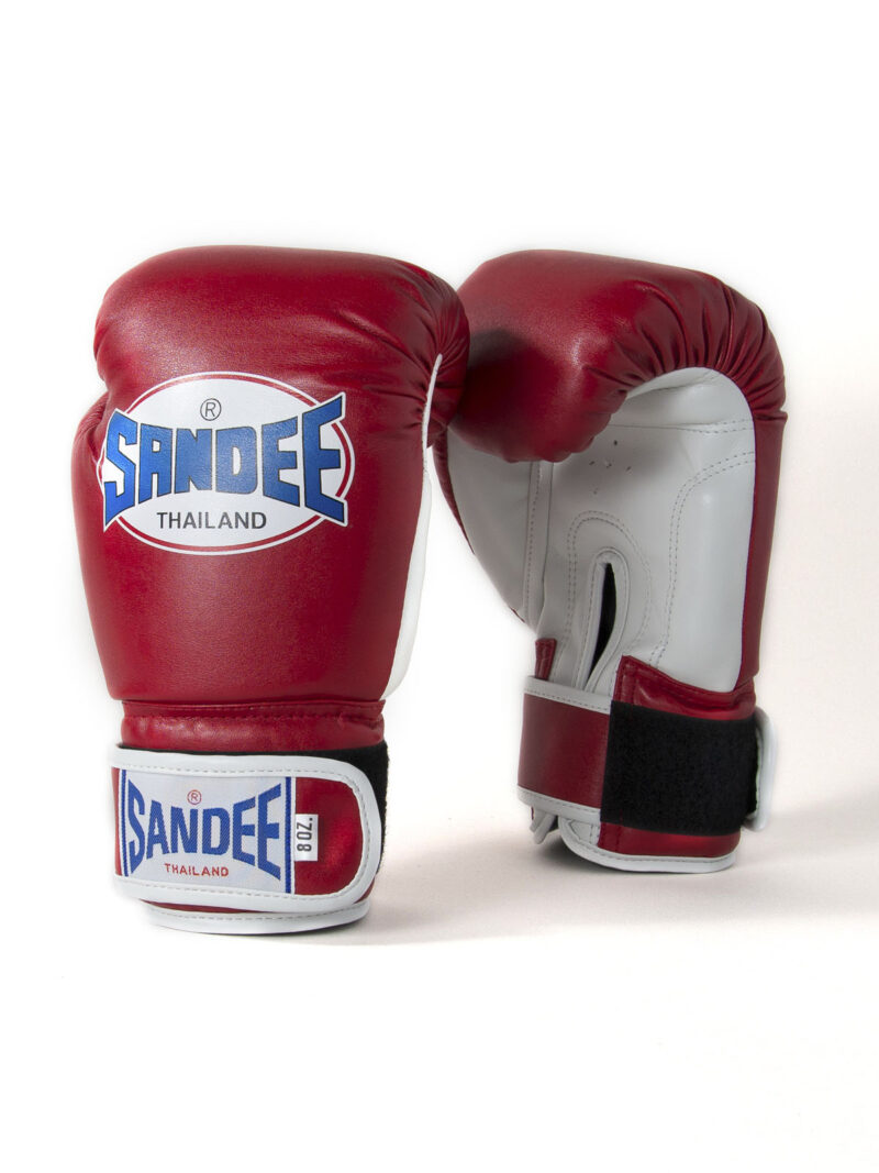 Sandee Kids Authentic Velcro Red & White Leather Boxing Gloves