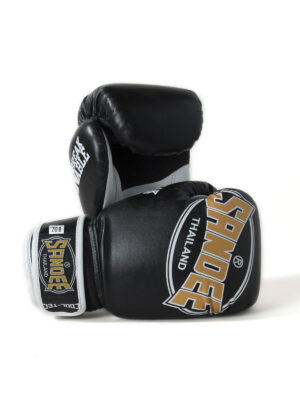 Sandee Kids Cool-Tec Velcro Black, Gold & White Leather Boxing Gloves