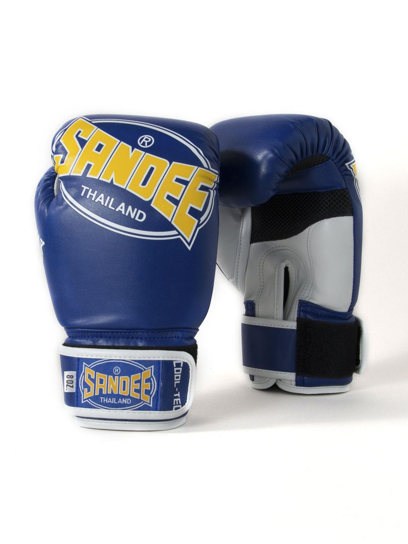 Sandee Kids Cool-Tec Velcro Blue, Yellow & White Leather Boxing Gloves