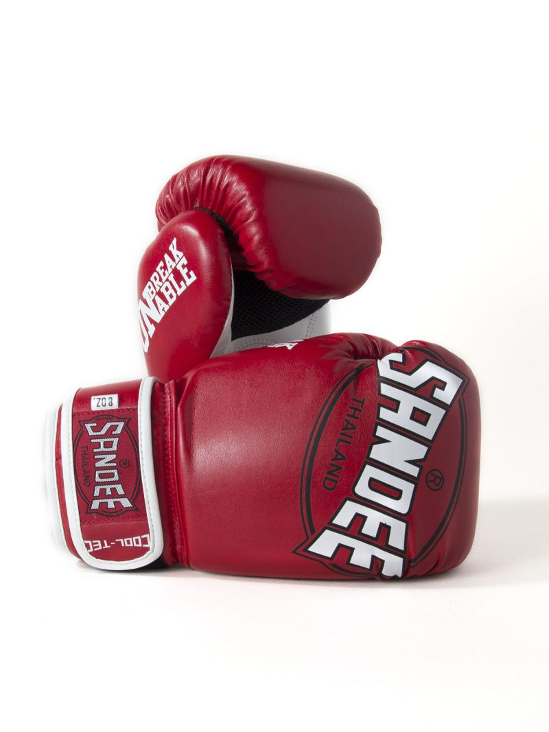 Sandee Kids Cool-Tec Velcro Red, White & Black Leather Boxing Gloves