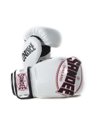 Sandee Kids Cool-Tec Velcro White, Black & Red Leather Boxing Gloves