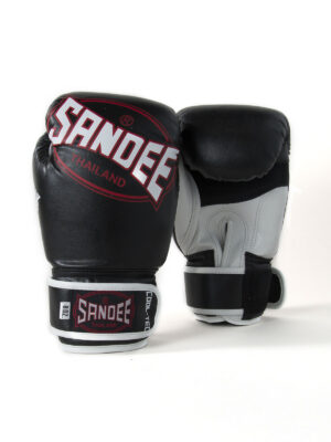 Sandee Kids Cool-Tec Velcro Black, White & Red Leather Boxing Gloves