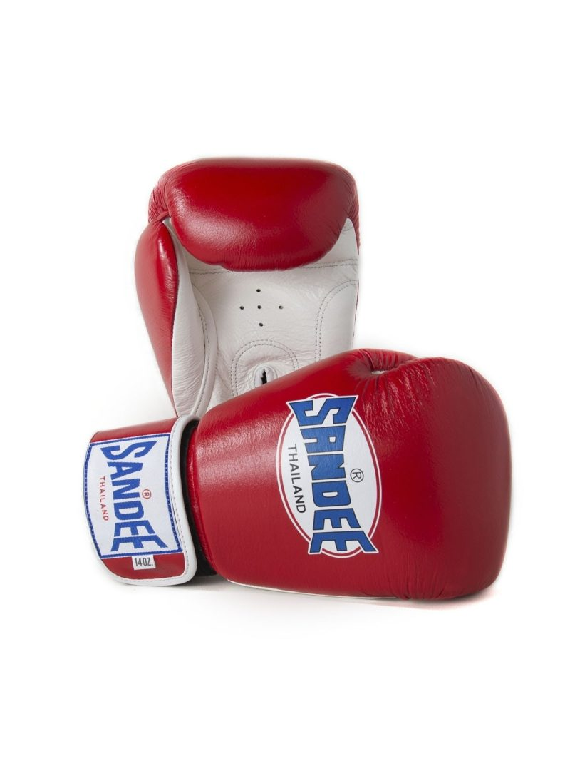 Sandee Authentic Velcro Red & White Leather Boxing Gloves