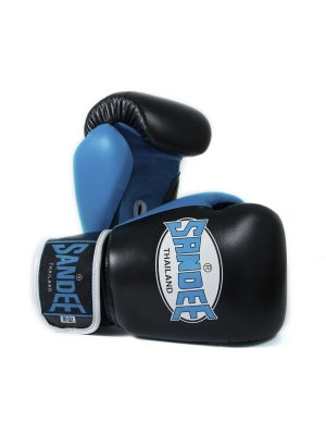 Sandee Neon Velcro Black & Blue Leather Boxing Gloves