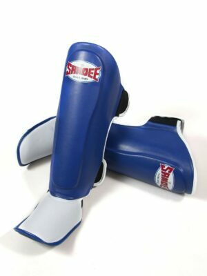 Sandee Kids Authentic Blue & White Synthetic Leather Shinguards