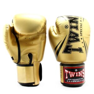 Twins Metallic Gold Synthetic Boxing Gloves