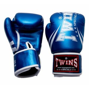 Twins Metallic Blue Synthetic Boxing Gloves