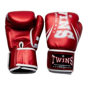 Twins Metallic Red Synthetic Boxing Gloves