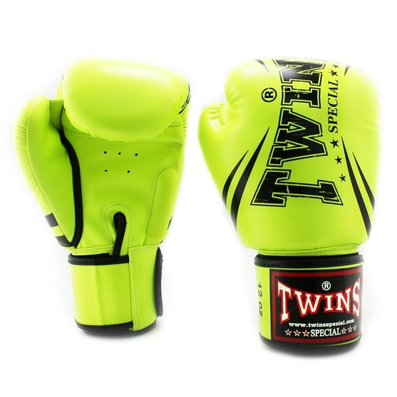 Twins Neon Yellow Synthetic Boxing Gloves