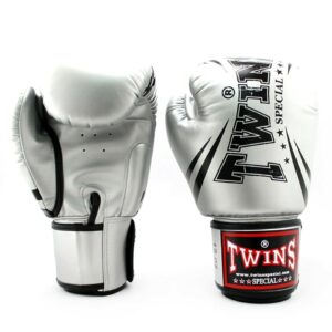 Twins Metallic Silver Synthetic Boxing Gloves