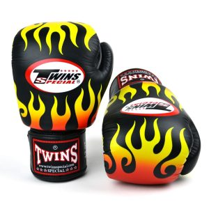 Twins FBGVL3-7 Black Fire Flame Boxing Gloves