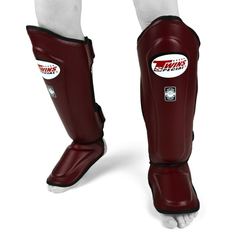 Twins Maroon Double Leather Shin Guards